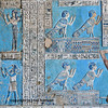 Magnificent painted reliefs of the ancient egyptian ba-bird which was a manifestation of the soul of the dead from the ancient Egyptian  temple of the goddess Hathor at Dendera, in Egypt