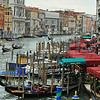 VENICE, ITALY – SEPTEMBER 18: Activity on the Grand Canal seen from the Rialto Bridge :  September 18, 2010 in Venice Italy.