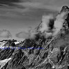 The magnificent Matterhorn in monochrome on the swiss italian border above Zermatt. Viewed here from the east.