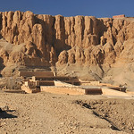 the magnificent mortuary temple of Hatshepsut in the evening at Luxor in Egypt