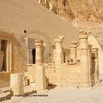 The inner sanctuary and final courtyard of the early new kingdom mortuary temple of Queen Hatshepsut at Thebes in Egypt