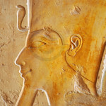 Detail of Pharaoh (possibly Tuthmoses III) wearing the double crown of upper and lower Egypt with Uraeus