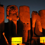 Statues of Ramses II and columns at night at the ancient Luxor Temple in Egypt