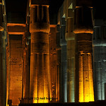 Great closed lotus columns at night at the ancient egyptian temple of Luxor