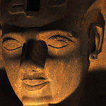 Colossal carving of the head of Ramses II at the Luxor Temple in Egypt