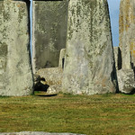 Huge trilithons, part of the standing stone circle at Stonehenge in England at the summer solstice