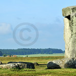 Trilithon standing stones at Stonehenge at the summer solstice. prehistoric stone ring in England