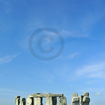 The entire circle of Stonehenge in England, at summer solstice in portrait format