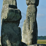 Huge Trilithon standing stones part of the prehistoric circle at Stonehenge in England at the summer solstice