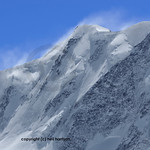 The deadly climbing mountain, Liskamm in southern switzerland. wind blows snow (shown in this image)  into unstable corniches which become massive and break off unpredictably causing the dea ...